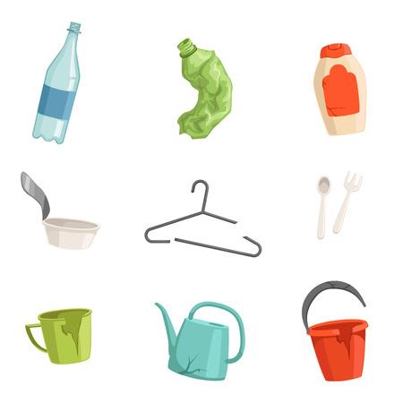 Platte vector set van plastic afval. Flessen, vork en lepel, kapotte kleerhanger, beker, emmer en gieter. Huishoudelijk afval sorteren en recyclen Vector Illustratie