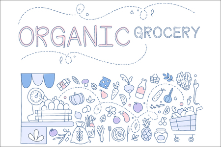 Organic grocery set, hand drawn sketches of foodstuffs, design element for banner, poster, brochure, flyer, advertising vector Illustrations
