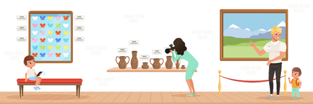 Museum visitors watching exhibits in the museum, people attending museum horizontal vector Illustration in flat style