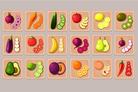 Flat vector set of fruits and vegetables on wooden cutting boards. Natural and tasty products. Cooking ingredients. Food icons
