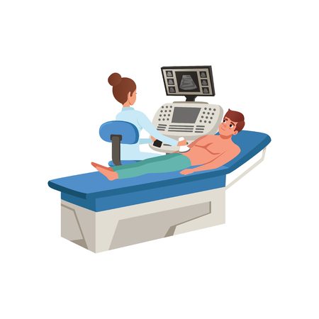 Female doctor scanning young man with ultrasound diagnostic machine, healthcare and medicine concept vector Illustration on a white background
