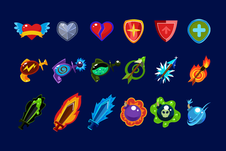 Vector set of mobile game assets. Hearts, defense shields, bottles with poisons magic elixirs, arrows, swords and bombs