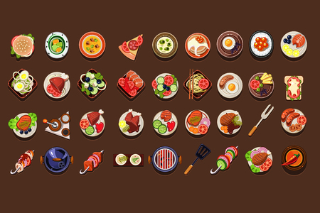 Flat vector set of delicious dishes and snacks. Tasty meal. Traditional breakfast. Elements for restaurant or cafe menu. Detailed food icons