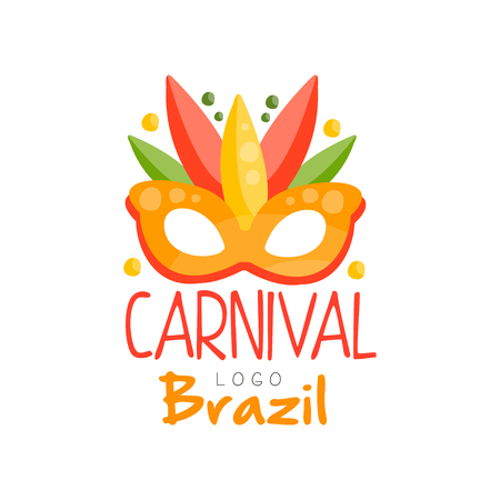 Brazil Carnival logo design, bright fest.ive party banner with mask vector Illustration on a white background Иллюстрация