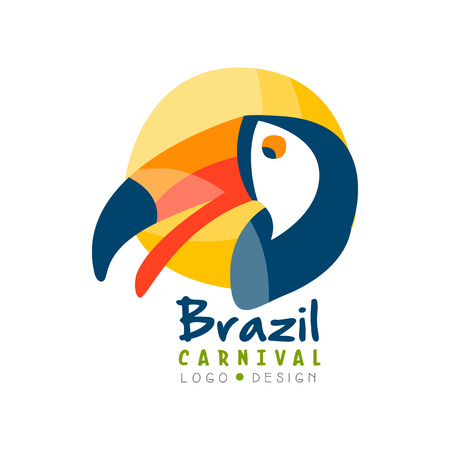 Brazil Carnival logo design, bright fest.ive party banner or poster with toucan bird vector Illustration on a white background Vettoriali