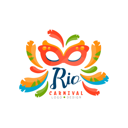 Rio Carnival logo design, bright festive party banner or poster with mask and feathers vector Illustration isolated on a white background. Ilustração