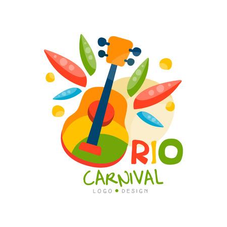 리오 카니발 로고 디자인, 기타 벡터 일러스트와 함께 밝은 축제 파티 배너.
