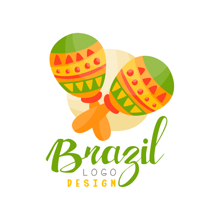 Brazil logo design, bright festive party banner with maracas vector Illustration isolated on a white background. Illustration