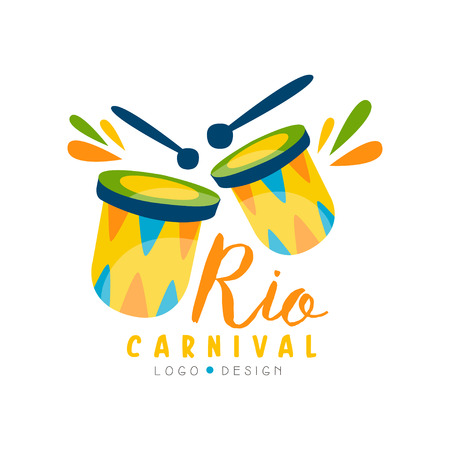 Rio Carnival logo design, bright fest.ive party banner or poster with drums vector Illustration on a white background