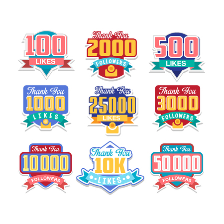 Thanking followers for likes, celebration for social media friends, fans or subscribers, colorful design element for social network vector Illustrations