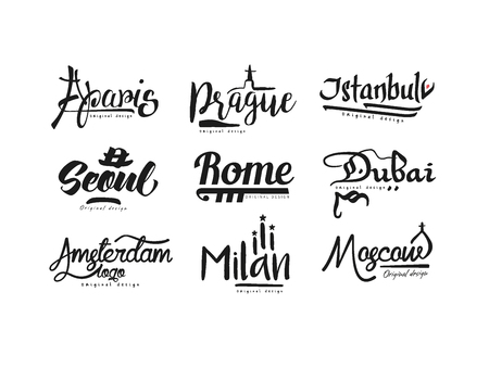 Names of cities, Paris, Prague, Istanbul, Seoul, Rome, Dubai, Amsterdam, Milan, Moscow city lettering design hand drawn vector Illustration isolated on a white background Imagens - 100838285