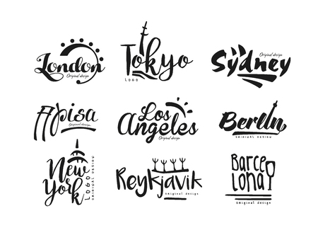 Names of cities, London, Tokyo, Sydney, Pisa, Los Angeles, Berlin, New York, Reykjavik, Barcelona, city lettering design hand drawn vector Illustration isolated on a white background Illustration