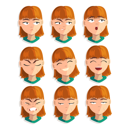 Redhead girl with emotional face set, female avatar with facial expression vector Illustrations isolated on a white background.