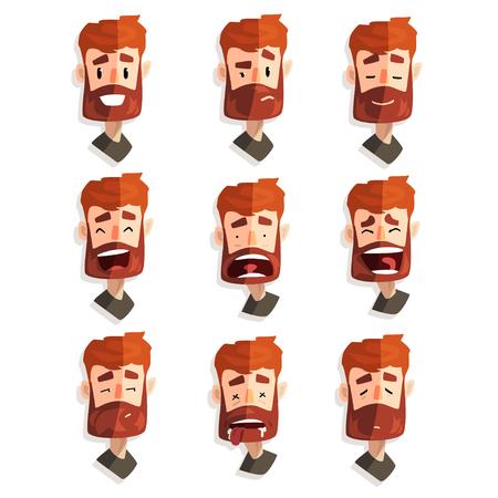 Hombre barbudo pelirrojo con rostro emocional, avatar masculino con vector de expresión facial ilustraciones sobre un fondo blanco