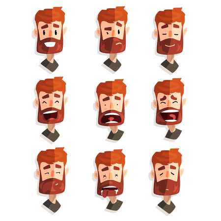Redhead bearded man with emotional face set, male avatar with facial expression vector Illustrations on a white background Illustration