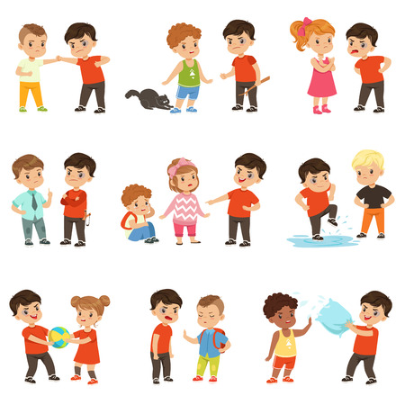 Brave children characters confronting hooligans set, bad boy bullying a smaller kid vector Illustrations.