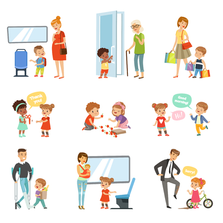 Kids good manners set, polite children helping adults, giving way to transport, thanking each other vector Illustrations isolated on a white background. Vettoriali