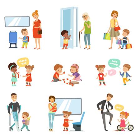Niños buenos modales establecidos, niños educados ayudando a los adultos, dando paso al transporte, agradeciéndose mutuamente ilustraciones vectoriales aisladas sobre fondo blanco.