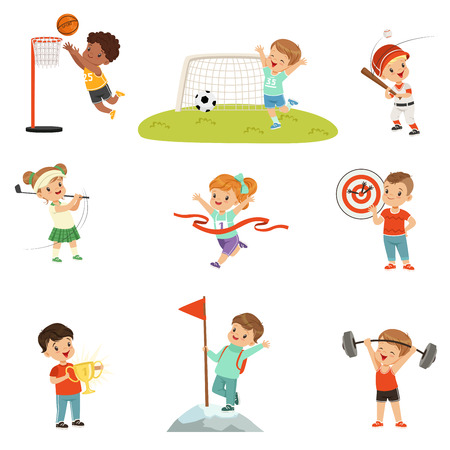 Cute little children playing different sports vector Illustrations on a white background