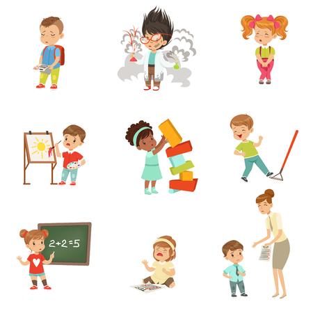 어린이 실패와 실수 설정, 흰색 배경에 자신의 실패 벡터 일러스트를 경험하는 좌절 어린 아이