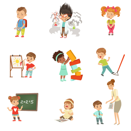 I fallimenti e gli errori dei bambini impostati, i ragazzini frustrati sperimentando i loro fallimenti vector le illustrazioni su una priorità bassa bianca
