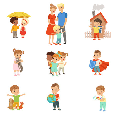 Cute little children protecting their family, friends, animals and the planet set vector Illustrations on a white background Illustration