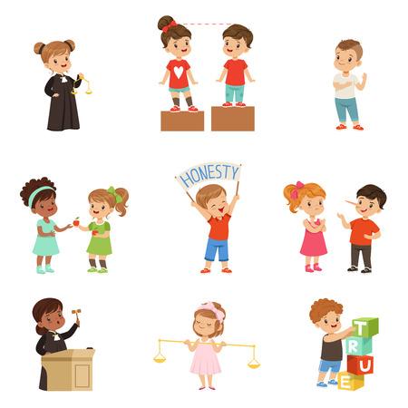 Życzliwe i uczciwe małe dzieci zestaw, dzieci chroniące przyjaciół, dzieląc się ze sobą, wykonując ilustracje wektorowe sprawiedliwości na białym tle