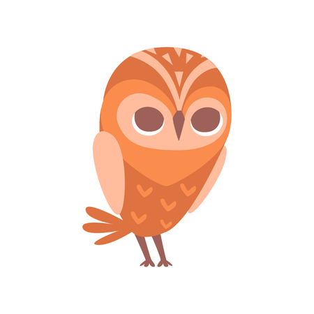 Cute funny cartoon owlet bird character vector Illustration on a white background Illustration