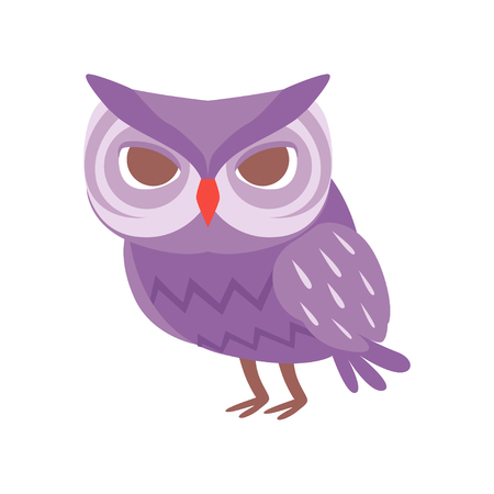 Cute cartoon purple owlet bird character vector Illustration on a white background