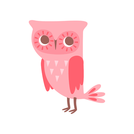 Cute funny cartoon pink owlet bird character vector Illustration on a white background Stock Illustratie