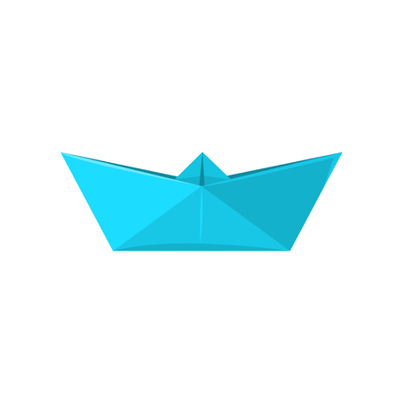 Paper ship made in origami technique vector Illustration isolated on a white background.