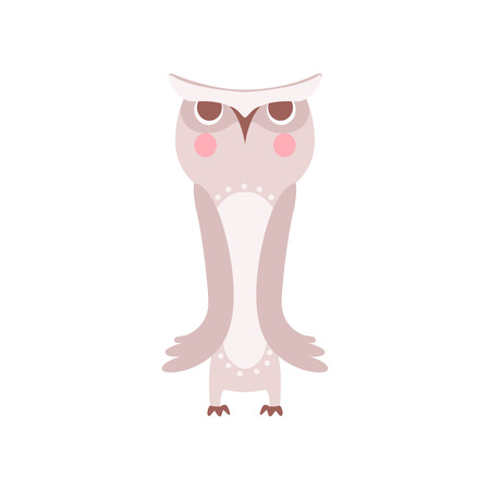 Lovely grey cartoon owlet bird character vector Illustration on a white background Stock Illustratie