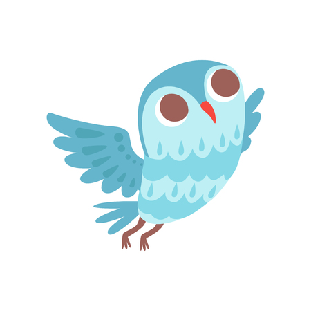 Lovely cartoon light blue owlet bird character flying vector Illustration on a white background