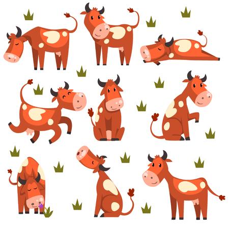 Brązowy łaciata zestaw krowa, charakter zwierząt gospodarskich w różnych pozach ilustracje wektorowe na białym tle na białym tle. Ilustracje wektorowe
