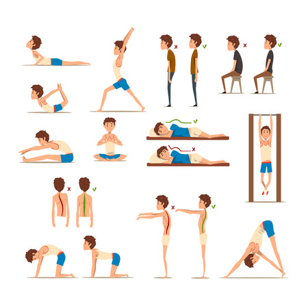Adolescent faisant des exercices ensemble, posture correcte et incorrecte de la colonne vertébrale. Vecteurs