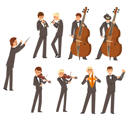 Musicians of symphonic orchestra and conductor, people playing various musical instruments vector Illustration. Archivio Fotografico - 100840531