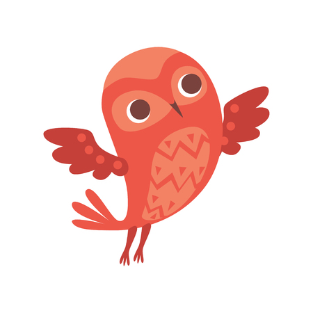 Cute funny cartoon red owlet bird character vector Illustration isolated on a white background. Stock Illustratie