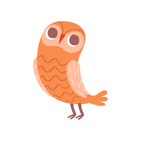 Cute cartoon orange owlet bird character vector Illustration isolated on a white background.