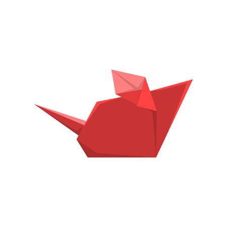 Red paper mouse made in origami technique vector Illustration on a white background