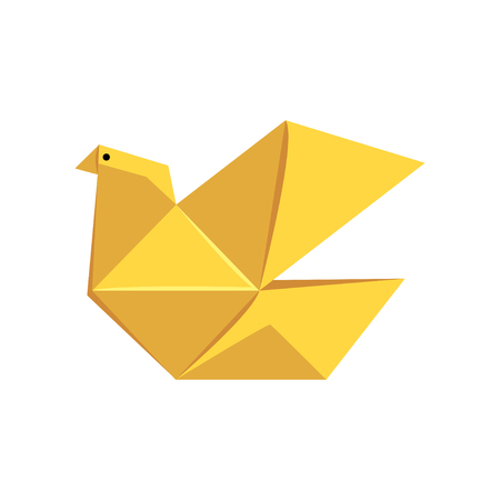Yellow pigeon bird made of paper in origami technique vector Illustration on a white background