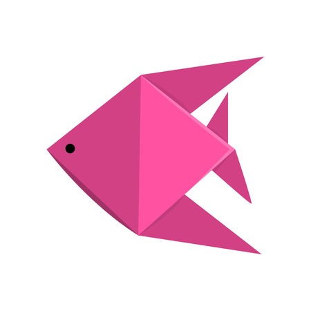 Pink geometric paper fish made in origami technique vector Illustration on a white background