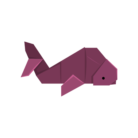 Whale fish origami paper animal vector Illustration on a white background