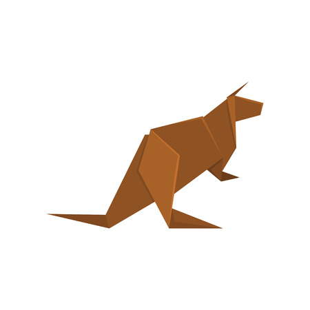 Brown kangaroo origami paper animal vector Illustration on a white background