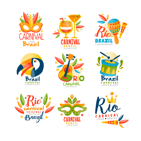 Brazil, Rio Carnival logo design set, bright festive party banner with masquerade masks, maracas, toucan, musical instruments vector Illustration isolated on a white background.
