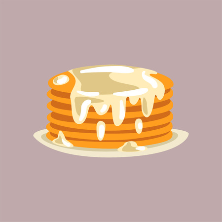 Fresh tasty pancakes with cream on a plate, traditional breakfast food vector Illustration, flat style
