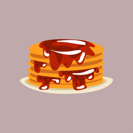 Fresh tasty pancakes with berry jam on a plate, traditional breakfast food vector Illustration, flat style