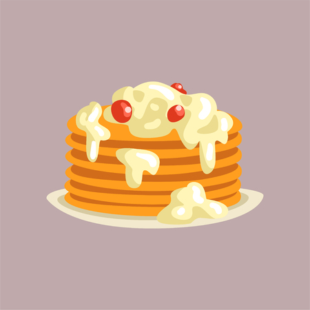 Fresh tasty pancakes with cream and berries on a plate, traditional breakfast food vector Illustration, flat style