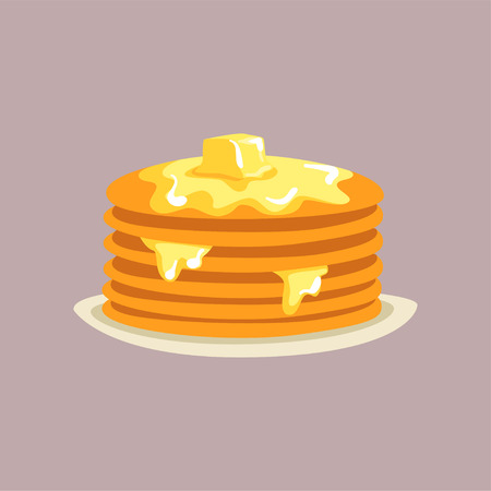 Fresh tasty pancakes with butter on a plate, traditional breakfast food vector Illustration, flat style Ilustração