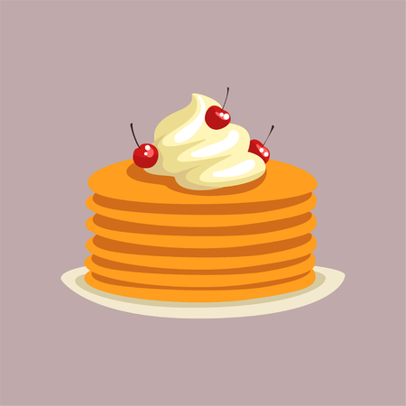 Fresh tasty pancakes with whipped cream and cherries on a plate, traditional breakfast food vector Illustration, flat style Illustration
