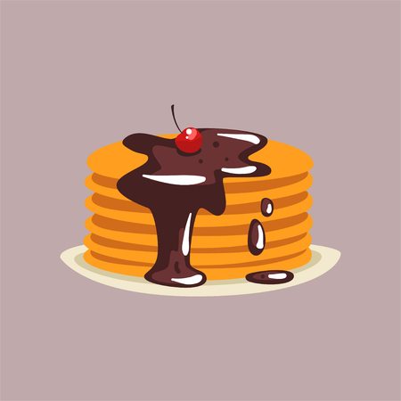 Fresh tasty pancakes with chocolate and cherry on a plate, traditional breakfast food vector Illustration, flat style